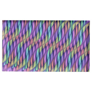 Striping Waves Pastel Rainbow Abstract Artwork Table Card Holder