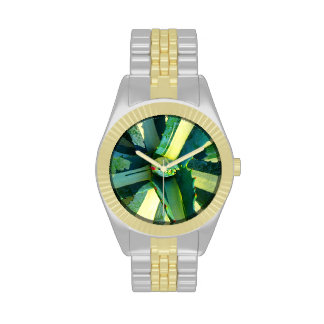 Stripped Agavae Succulent Square by Amy Vangsgard Wristwatches