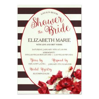 Strips and floral Bridal Shower Invitation Design