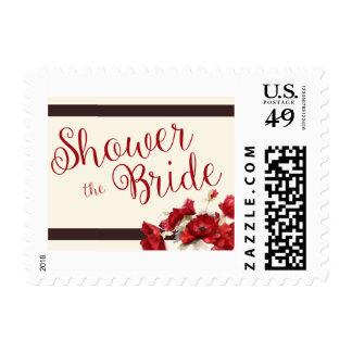 Strips and Floral Bridal Shower Stamp Design