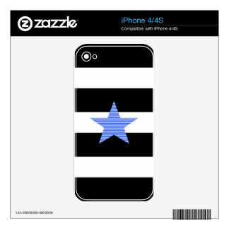 Strips - blue and white - blue star. iPhone 4 skin