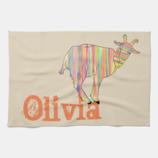 Stripy Colourful Goat Art Design Add Your Name Kitchen Towel