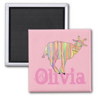 Stripy Colourful Goat Art Design with Your Name Magnet