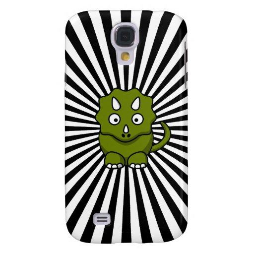 Stripy Green Triceratops Cartoon iPhone 3G Case Galaxy S4 Cases