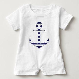 Stripy nautical anchor baby romper