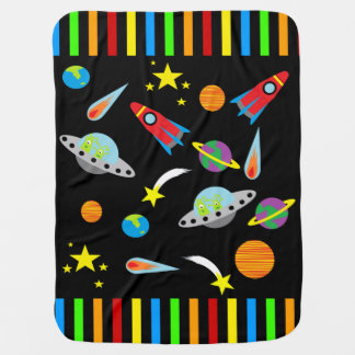 Stripy Space Rockets Planets Stars Baby Blanket