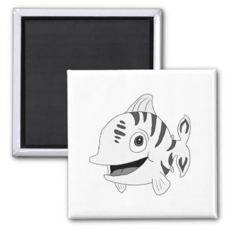 """""""Stripy"""" the fish (black and white) Refrigerator Magnet"""