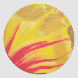 stripy tulip classic round sticker