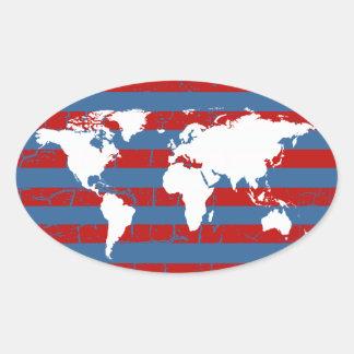 stripy world oval sticker