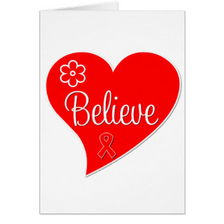 Stroke Awareness Believe Red Heart Greeting Cards