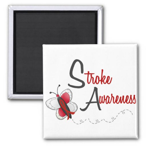 Stroke Awareness BUTTERFLY SERIES 2 2 Inch Square Magnet