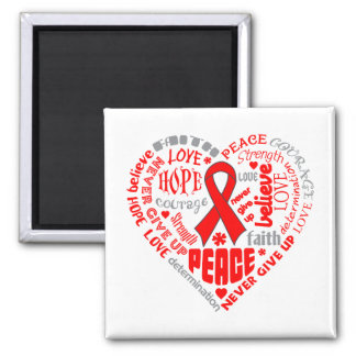Stroke Awareness Heart Words 2 Inch Square Magnet