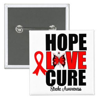 Stroke Awareness Hope Love Cure 2 Inch Square Button