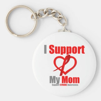 Stroke Awareness I Support My Mom Basic Round Button Keychain