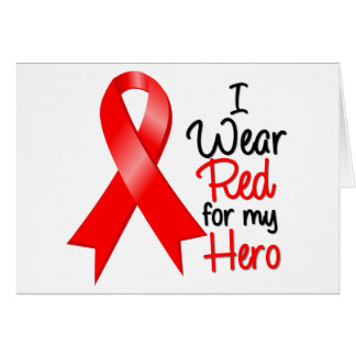 Stroke Awareness I Wear Red For My Hero Cards