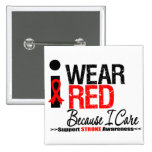Stroke Awareness I Wear Red Ribbon Because I Care Button