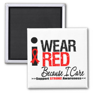 Stroke Awareness I Wear Red Ribbon Because I Care Magnet