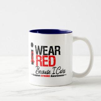 Stroke Awareness I Wear Red Ribbon Because I Care Coffee Mugs