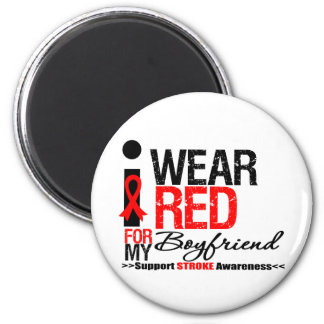 Stroke Awareness I Wear Red Ribbon For Boyfriend Refrigerator Magnets