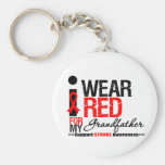 Stroke Awareness I Wear Red Ribbon For Grandfather Key Chains