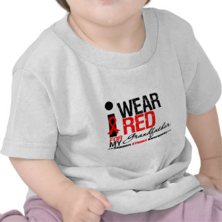 Stroke Awareness I Wear Red Ribbon For Grandfather T Shirt