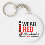 Stroke Awareness I Wear Red Ribbon For Grandmother Basic Round Button Keychain