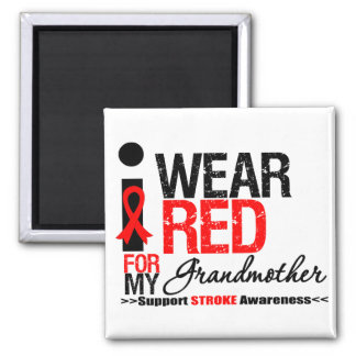 Stroke Awareness I Wear Red Ribbon For Grandmother Magnet