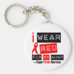 Stroke Awareness I Wear Red Ribbon For My Aunt Keychains