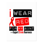 Stroke Awareness I Wear Red Ribbon For My Aunt Postcard