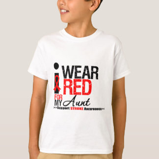 Stroke Awareness I Wear Red Ribbon For My Aunt T-Shirt