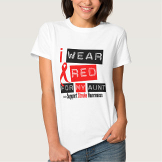 Stroke Awareness I Wear Red Ribbon For My Aunt T Shirt