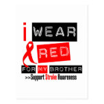 Stroke Awareness I Wear Red Ribbon For My Brother Postcard