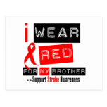 Stroke Awareness I Wear Red Ribbon For My Brother Postcards