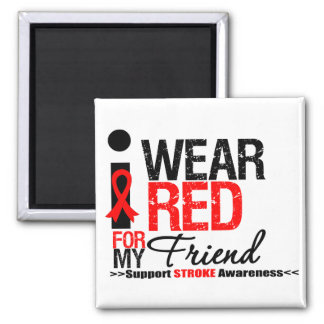 Stroke Awareness I Wear Red Ribbon For My Friend Refrigerator Magnet
