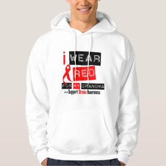 Stroke Awareness I Wear Red Ribbon For My Grandma Hoody