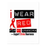 Stroke Awareness I Wear Red Ribbon For My Grandma Postcard