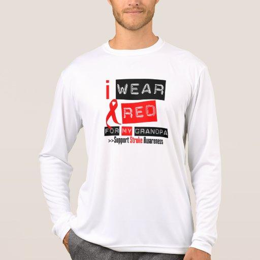 Stroke Awareness I Wear Red Ribbon For My Grandpa T-shirts