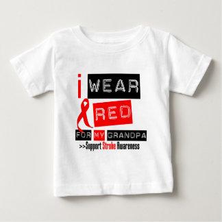Stroke Awareness I Wear Red Ribbon For My Grandpa Tee Shirt