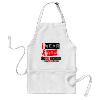 Stroke Awareness I Wear Red Ribbon For My Grandson Adult Apron