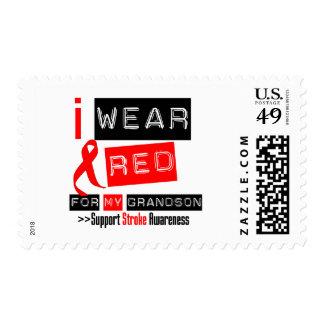 Stroke Awareness I Wear Red Ribbon For My Grandson Stamp