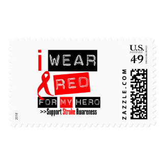 Stroke Awareness I Wear Red Ribbon For My Hero Postage Stamps