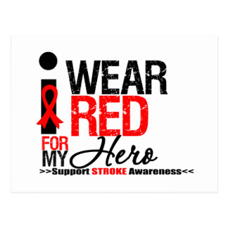 Stroke Awareness I Wear Red Ribbon For My Hero Postcard