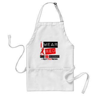 Stroke Awareness I Wear Red Ribbon For My Husband Adult Apron
