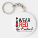 Stroke Awareness I Wear Red Ribbon For My Husband Basic Round Button Keychain
