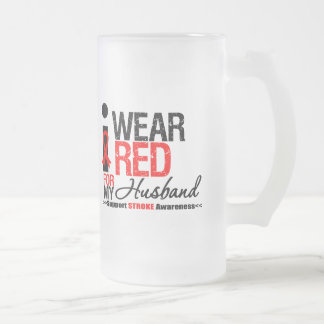 Stroke Awareness I Wear Red Ribbon For My Husband Mug
