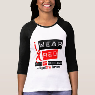 Stroke Awareness I Wear Red Ribbon For My Husband T-Shirt