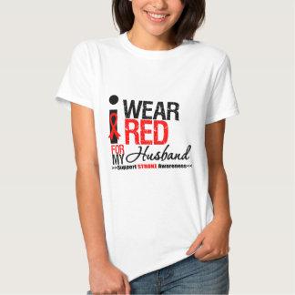 Stroke Awareness I Wear Red Ribbon For My Husband Tee Shirt