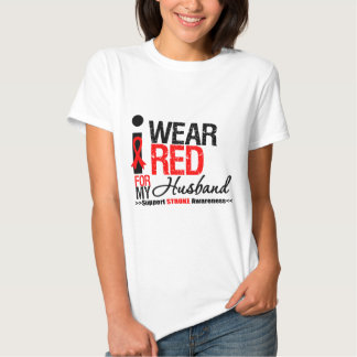 Stroke Awareness I Wear Red Ribbon For My Husband Tee Shirts