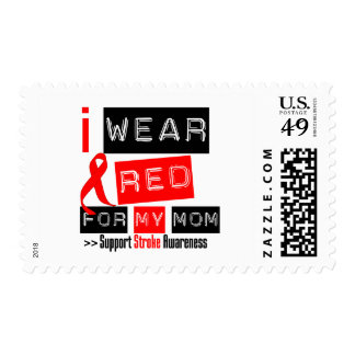 Stroke Awareness I Wear Red Ribbon For My Mom Postage Stamp