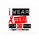 Stroke Awareness I Wear Red Ribbon For My Mom Postcard